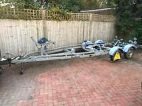 Brenderup twin axle 2000kg boat or RIB roller trailer