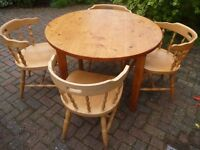 4 Solid Pine Chairs & FREE Table