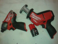 hacksaw and impact driver, Milwaukee, brand new