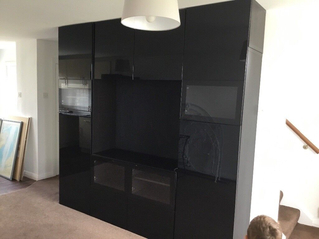 Ikea Black Gloss Wall Unit