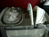 Graco travel cot with brand new baby changing station