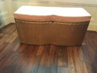 Blanket box with woven base and covered top