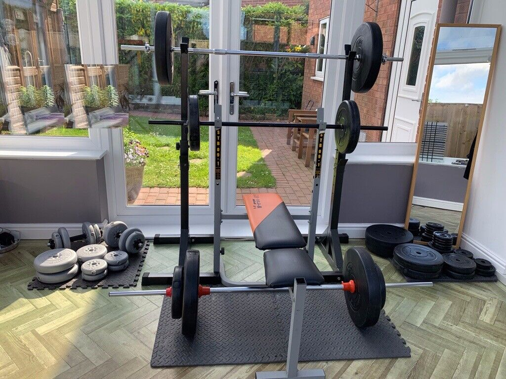 Complete home weight training set of 3xbarbells, 2xdumbells, squat posts,  folding bench, 200kg's | in Skelmersdale, Lancashire | Gumtree