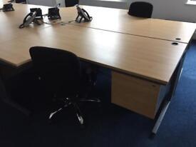 Oak 1800 desk with pedestal