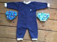 Splash About wetsuit. Two swim nappies