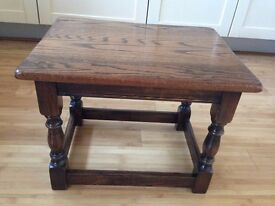 Small Coffee Table - Vintage, solid oak wood, smart condition, sturdy, makers stamp underneath. VGC