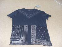 Mens All Saints Latin Cross T Shirt size Small medium 40 chest.New