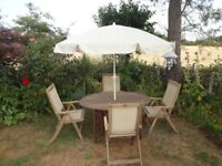 LARGE TEAK GARDEN SET --ROYAL CRAFT --TABLE AND 4 RECLINING CHAIRS --WITH PARASOL --