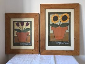 2 large wooden picture frames made of New Zealand native wood including original paintings