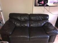 Dark Brown 2 seater leather sofa