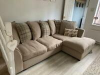 Left hand corner sofa + swivel chair + half moon footstool