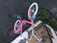 Girls pink toddler bike