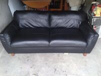 Black leather sofa & table & chairs