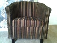 Modern Brown Stripe Fabric Tub Chair, Very Good Condition