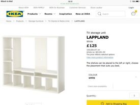 IKEA LARGE TV STORAGE UNIT WHITE 'LAPPLAND'