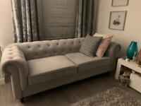 3 Seater Chesterfield Sofa - light grey