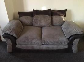 Brown fabric sofa (2 seater and 3 seater)