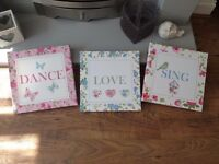 SING ~ DANCE ~ LOVE ~ Canvas Pictures in as new condition