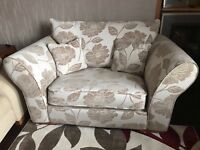 Cream & Mink DFS Cuddle/Snuggle Chair/Sofa and Matching Footstool with Storage