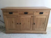 Rustic pine three door three drawer sideboard