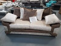 Brand New Brown And Mink Dino 3+2 Crush Velvet Sofa. Ready For Pick Up Or Delivery