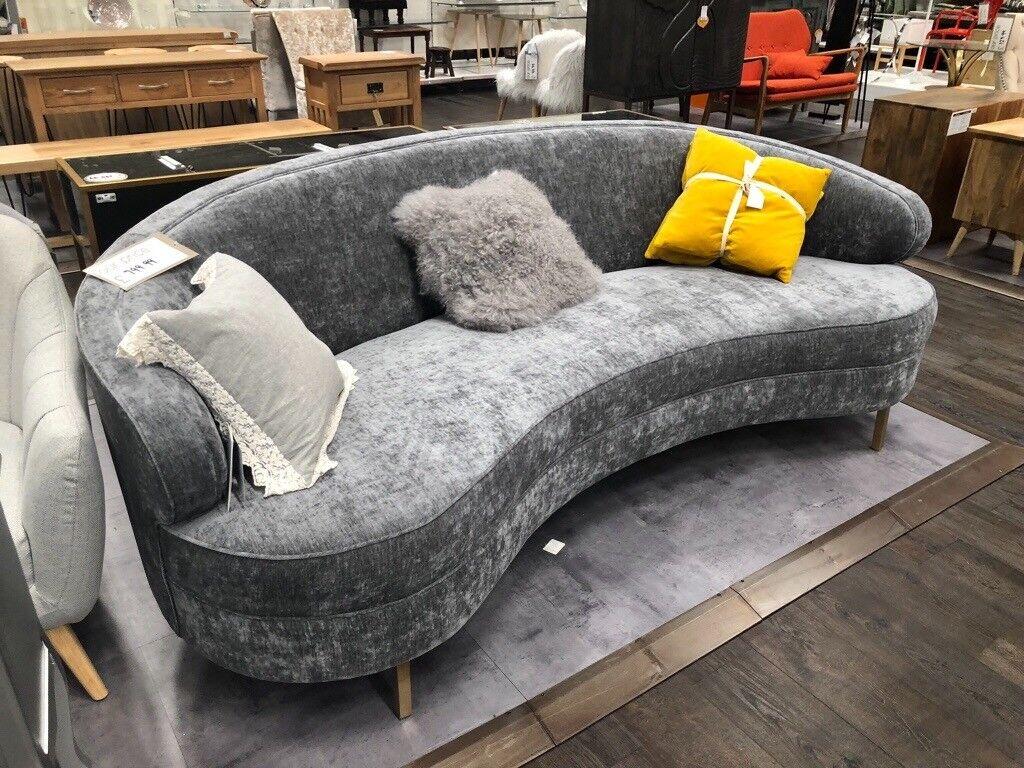 Grey modern mid century curved balia sofa