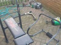 Weight bench and a sit up thing