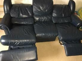 Sofa navy blue leather recliner 3 seater