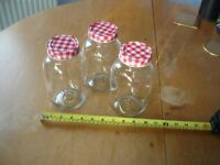 THREE ATTRACTIVE STORAGE JARS WITH KILNER-TYPE SCREW SEALED LIDS - NEW AND UNUSED