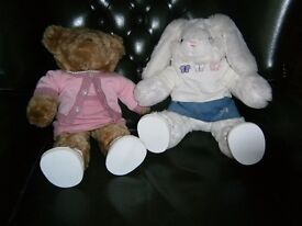 BEAR FACTORY BEARS - BROWN FUR BEAR AND WHITE RABBIT - BOTH FULLY DRESSED