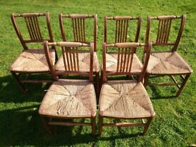 Set of 6 Antique Rush Seat Chairs