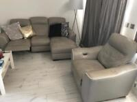Leather sofa and chair