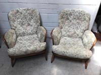 Pair of Ercol arm lounge chairs