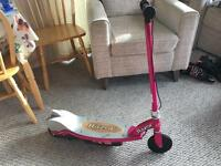 Pink electric razor scooter