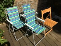 Good condition folding chairs, 1 wooden, 3 poly/steel