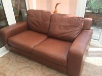 two seater leather sofa (brown)