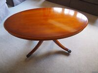 Yew Coffee Table with Brass Castors