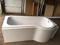 P shaped bath