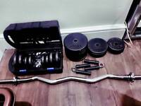 Dumbbells, EZ Curl bar, 60kg of Weights, Hand Grips