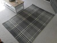 Next grey tartan textured woven rug