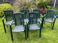 6 High back plastic garden chairs