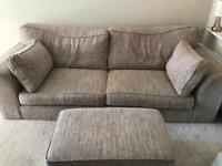 Oatmeal 4 Seater Sofa and Footstool
