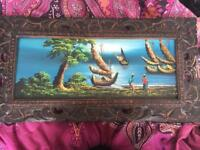 Oil Painting With Handcraved Wooden Frame