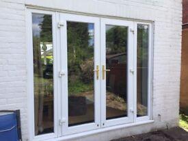 White uPVC Patio Doors with side windows