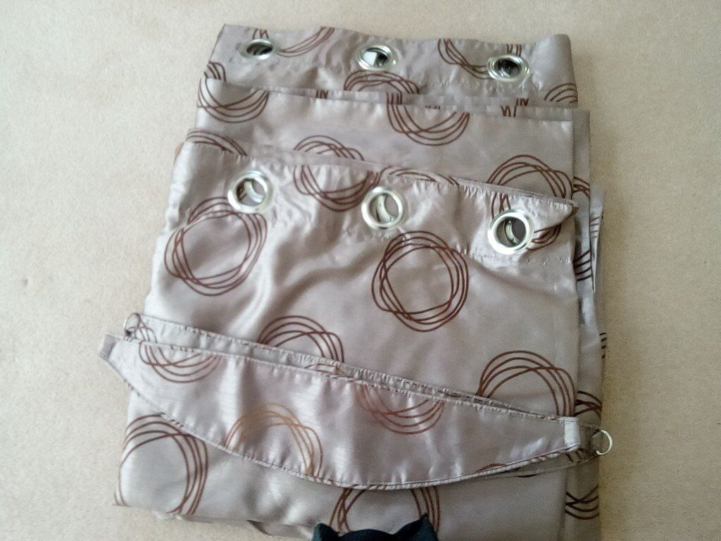 Faux Silk Patterned Beige Curtains