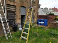 ladders, used alloy step ladders and 2 new roof rack securing hooks