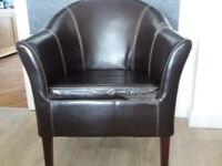Faux leather tub chair - FREE! Plus 2 x cream sofas