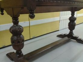 Carved dining table,solid oak,rectangular,150cm,genuine Old Charm