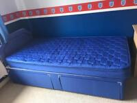 Nearly new single divan bed with headboard