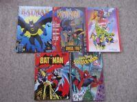 5 comic annuals - Batman & Robin, Spider-Man & Marvel Classics